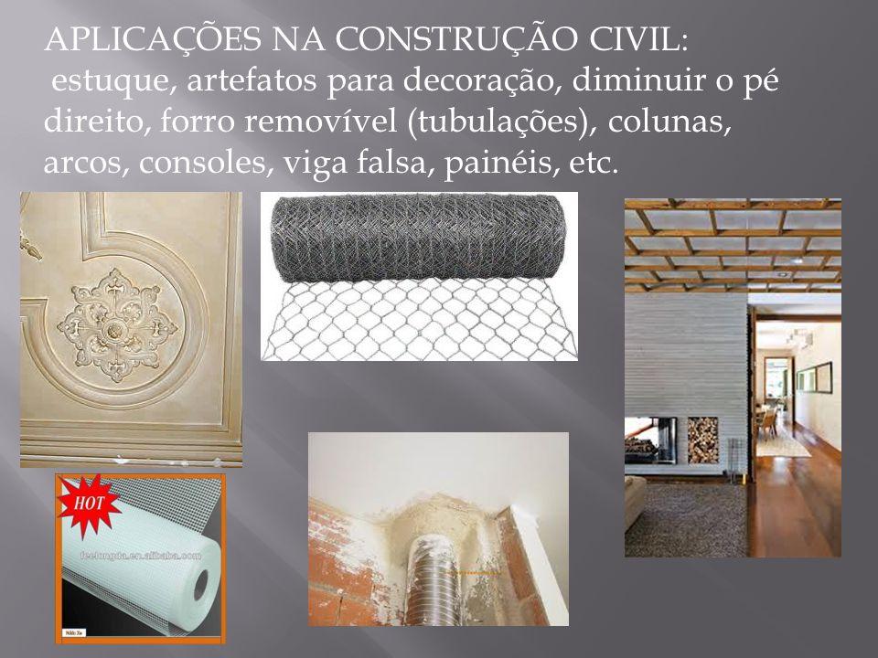APLICAÇÕES NA CONSTRUÇÃO CIVIL: estuque, artefatos para decoração, diminuir o pé direito, forro removível (tubulações), colunas, arcos, consoles, viga