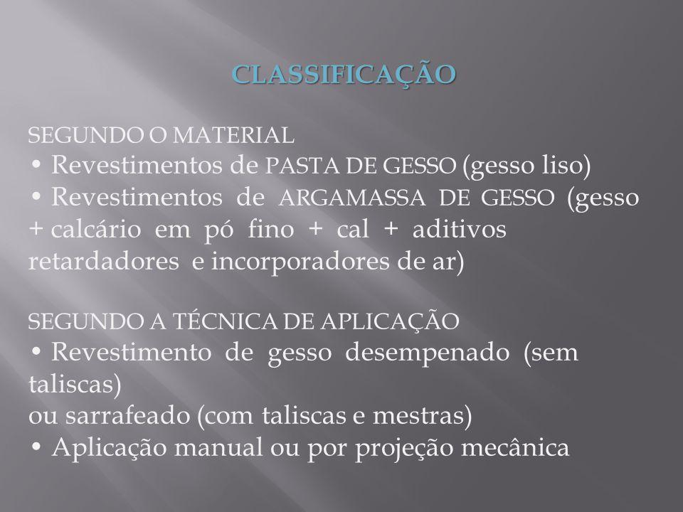 CLASSIFICAÇÃO SEGUNDO O MATERIAL Revestimentos de PASTA DE GESSO (gesso liso) Revestimentos de ARGAMASSA DE GESSO (gesso + calcário em pó fino + cal +