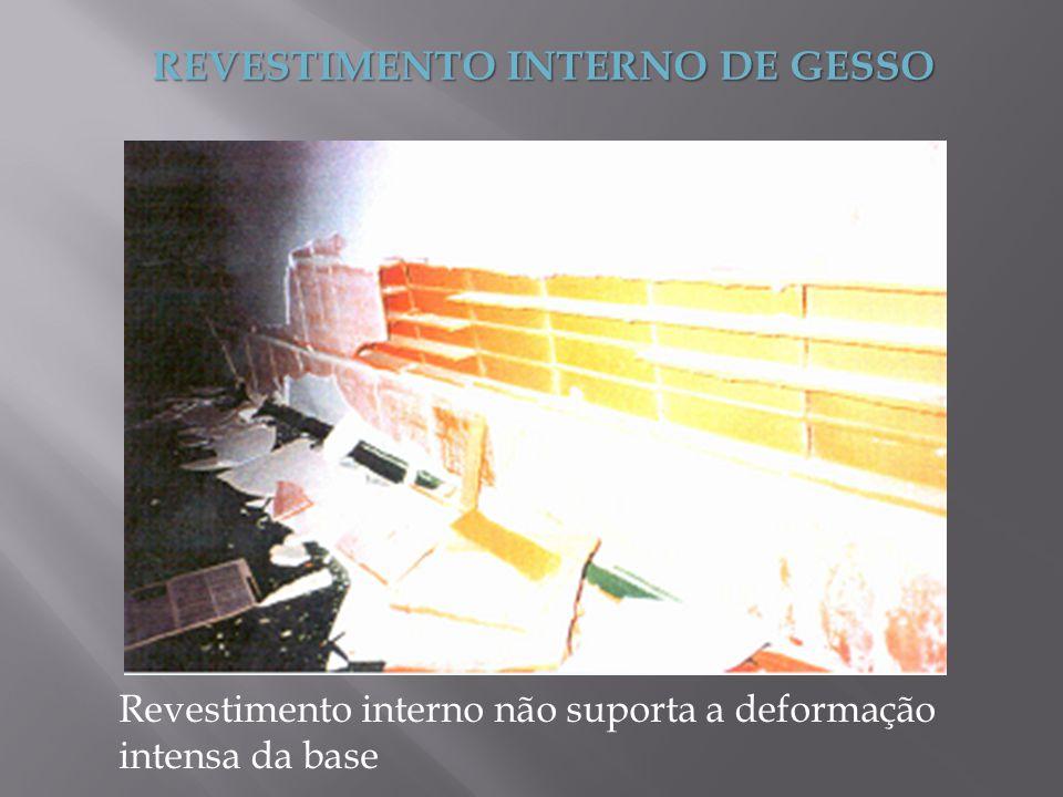 REVESTIMENTO INTERNO DE GESSO Revestimento interno não suporta a deformação intensa da base