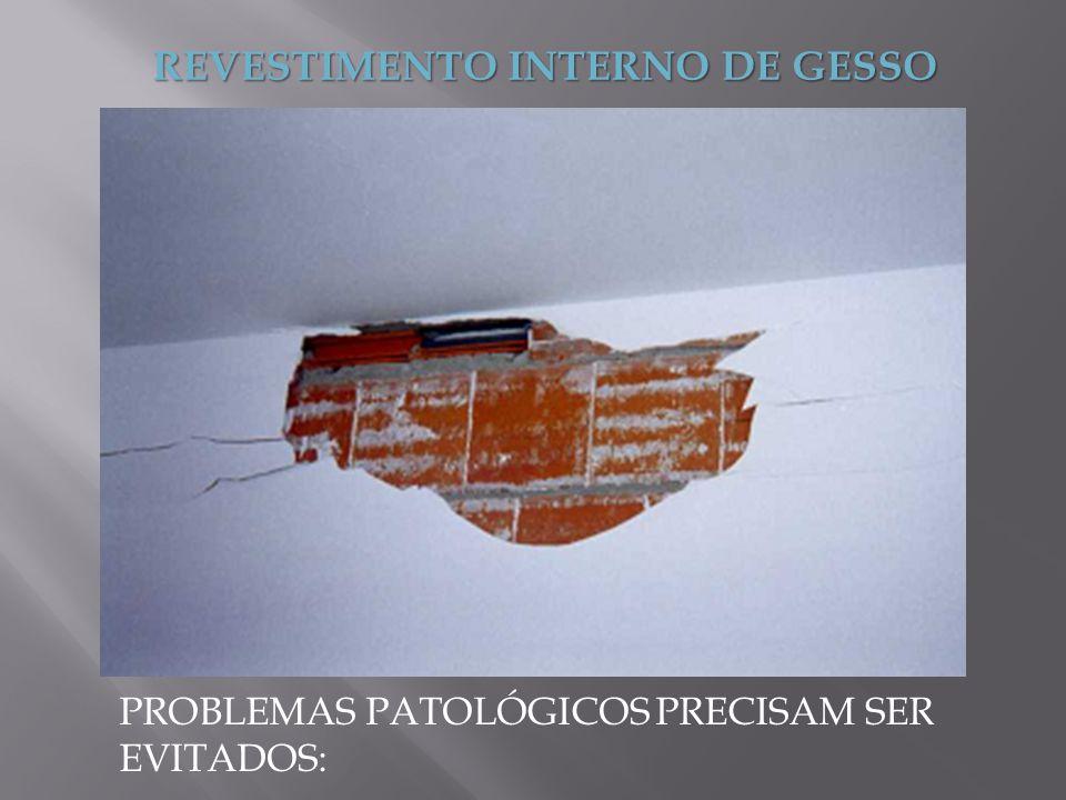 REVESTIMENTO INTERNO DE GESSO PROBLEMAS PATOLÓGICOS PRECISAM SER EVITADOS: