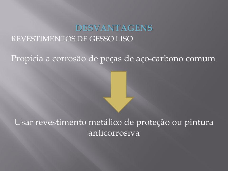 DESVANTAGENS REVESTIMENTOS DE GESSO LISO Propicia a corrosão de peças de aço-carbono comum Usar revestimento metálico de proteção ou pintura anticorro