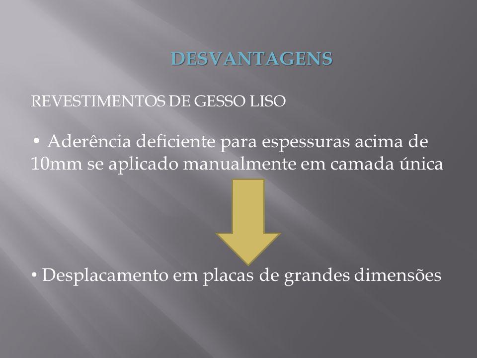 DESVANTAGENS REVESTIMENTOS DE GESSO LISO Aderência deficiente para espessuras acima de 10mm se aplicado manualmente em camada única Desplacamento em p