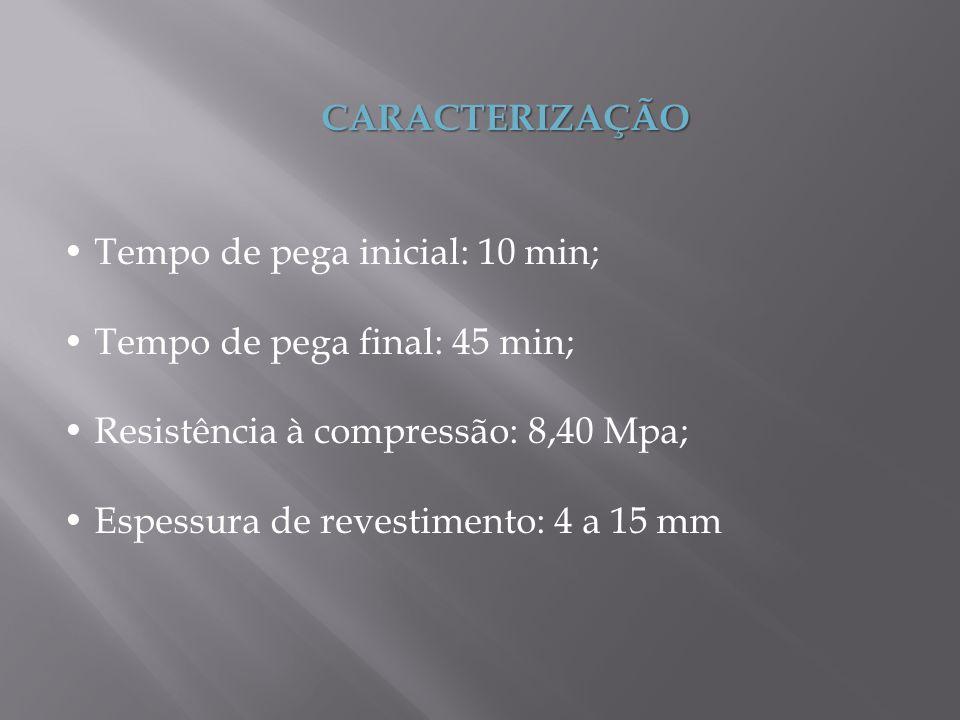 CARACTERIZAÇÃO Tempo de pega inicial: 10 min; Tempo de pega final: 45 min; Resistência à compressão: 8,40 Mpa; Espessura de revestimento: 4 a 15 mm