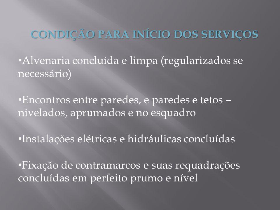 CONDIÇÃO PARA INÍCIO DOS SERVIÇOS Alvenaria concluída e limpa (regularizados se necessário) Encontros entre paredes, e paredes e tetos – nivelados, ap