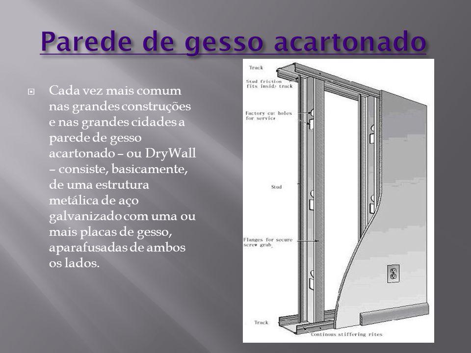  Cada vez mais comum nas grandes construções e nas grandes cidades a parede de gesso acartonado – ou DryWall – consiste, basicamente, de uma estrutur