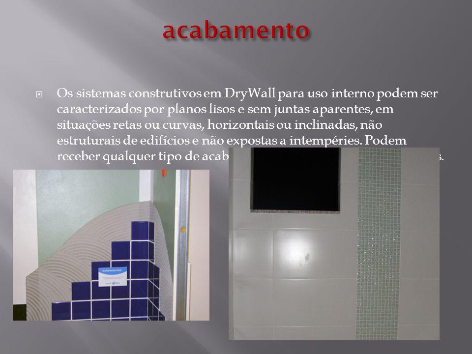  Os sistemas construtivos em DryWall para uso interno podem ser caracterizados por planos lisos e sem juntas aparentes, em situações retas ou curvas,