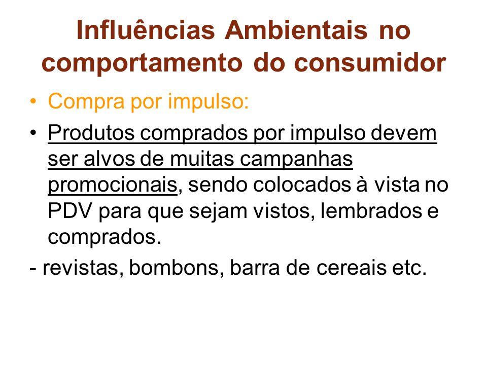Influências Ambientais no comportamento do consumidor Compra por impulso: Produtos comprados por impulso devem ser alvos de muitas campanhas promocionais, sendo colocados à vista no PDV para que sejam vistos, lembrados e comprados.