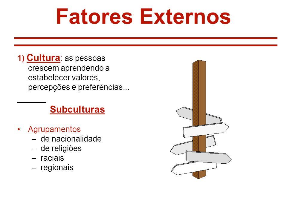 Fatores Externos 1) Cultura : as pessoas crescem aprendendo a estabelecer valores, percepções e preferências... Subculturas Agrupamentos –de nacionali