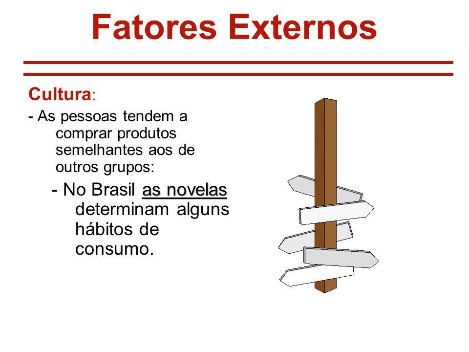 Fatores Externos Cultura : - As pessoas tendem a comprar produtos semelhantes aos de outros grupos: as novelas - No Brasil as novelas determinam alguns hábitos de consumo.