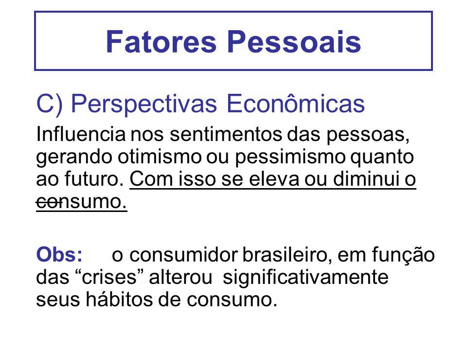 Fatores Pessoais C) Perspectivas Econômicas Influencia nos sentimentos das pessoas, gerando otimismo ou pessimismo quanto ao futuro. Com isso se eleva