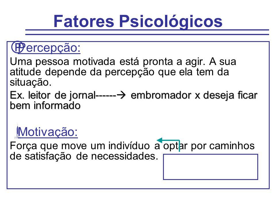 Fatores Psicológicos  Percepção: Uma pessoa motivada está pronta a agir. A sua atitude depende da percepção que ela tem da situação. Ex. leitor de jo