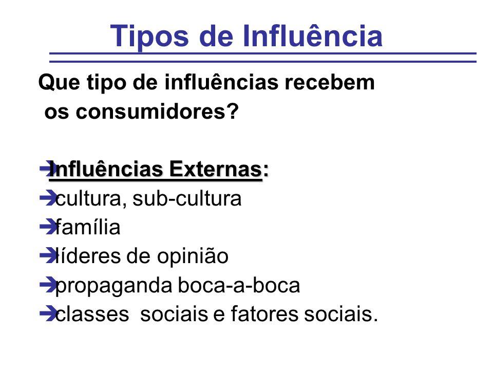 Tipos de Influência Que tipo de influências recebem os consumidores? èInfluências Externas: è cultura, sub-cultura è família è líderes de opinião è pr