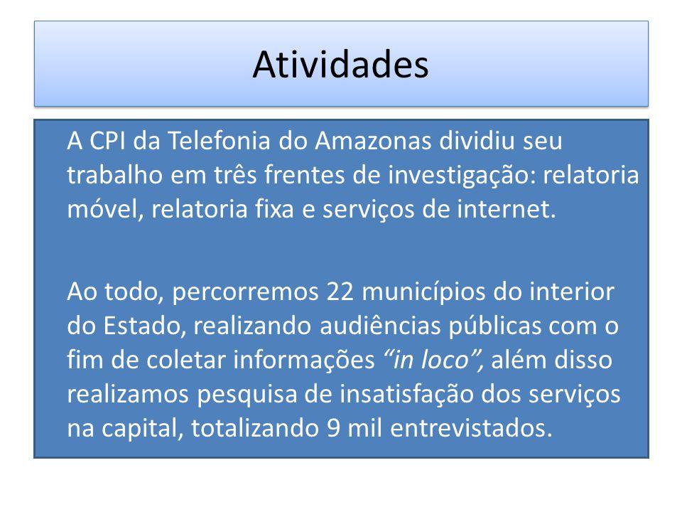 Histórico A CPI da Telefonia foi instaurada em 01 de Setembro de 2013, com o objetivo de apurar a má prestação de serviços de telefonia móvel, fixa e internet no Estado do Amazonas.