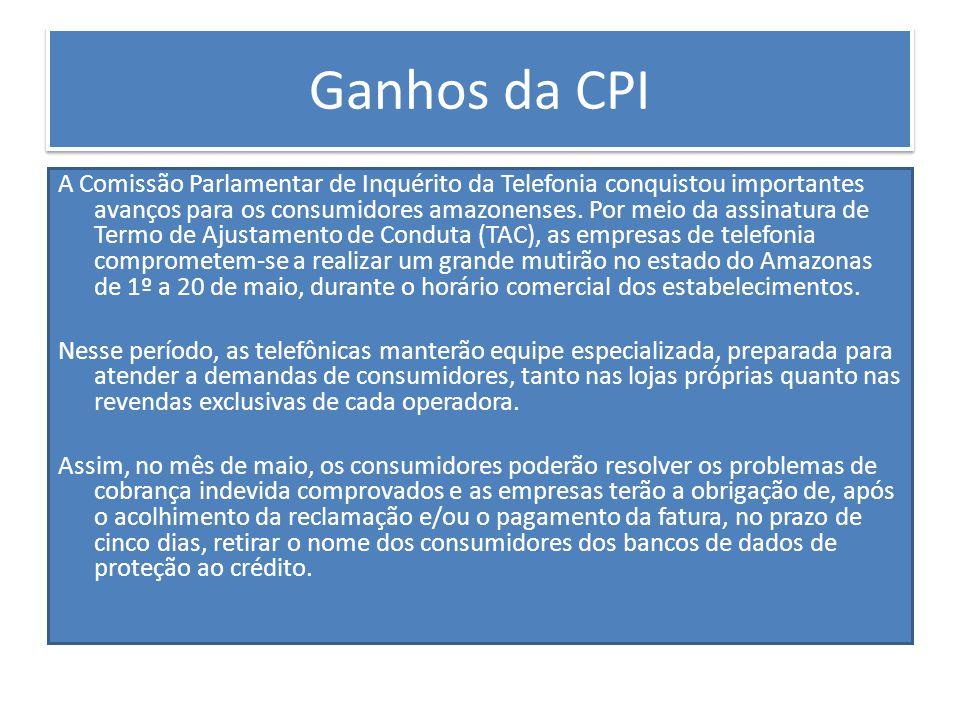 Atividades A CPI da Telefonia do Amazonas dividiu seu trabalho em três frentes de investigação: relatoria móvel, relatoria fixa e serviços de internet.