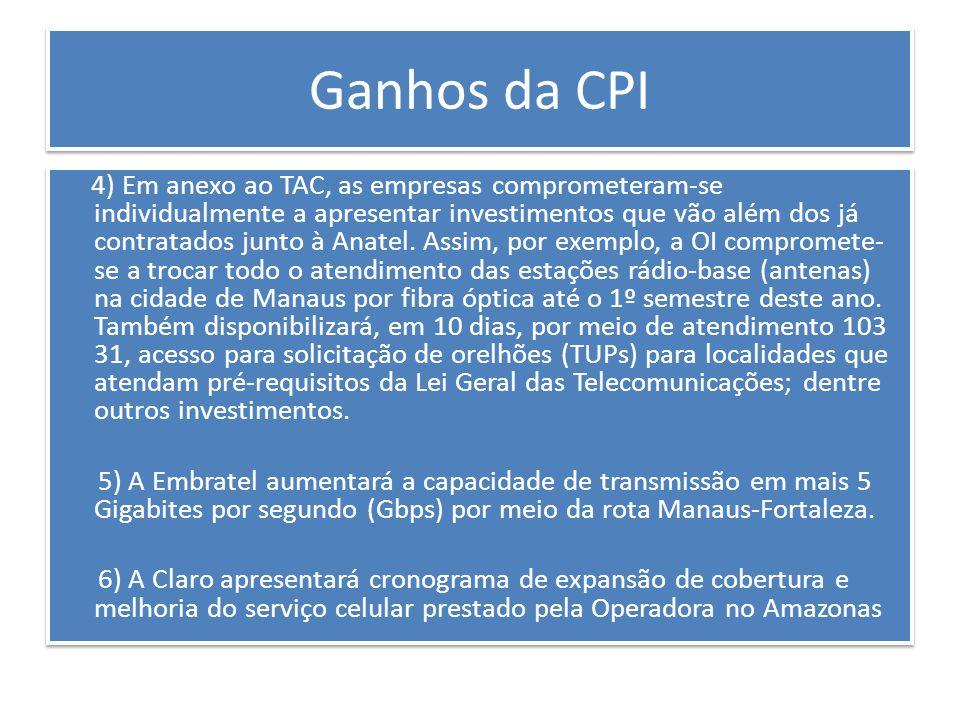 Ganhos da CPI 1) Haverá mais informação disponível para os consumidores.