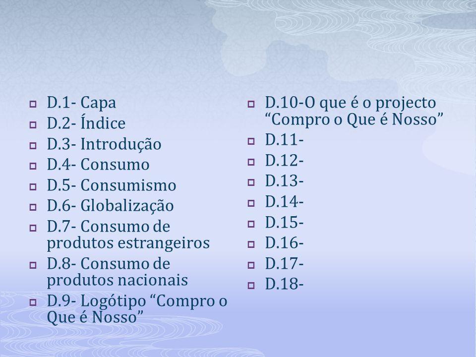  D.1- Capa  D.2- Índice  D.3- Introdução  D.4- Consumo  D.5- Consumismo  D.6- Globalização  D.7- Consumo de produtos estrangeiros  D.8- Consum