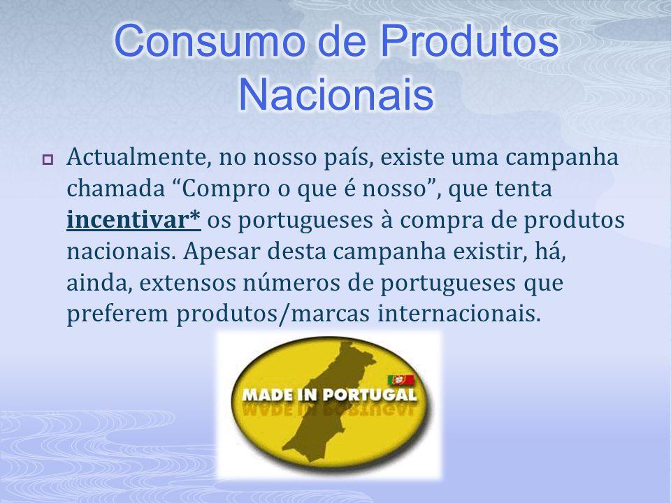 """ Actualmente, no nosso país, existe uma campanha chamada """"Compro o que é nosso"""", que tenta incentivar* os portugueses à compra de produtos nacionais."""