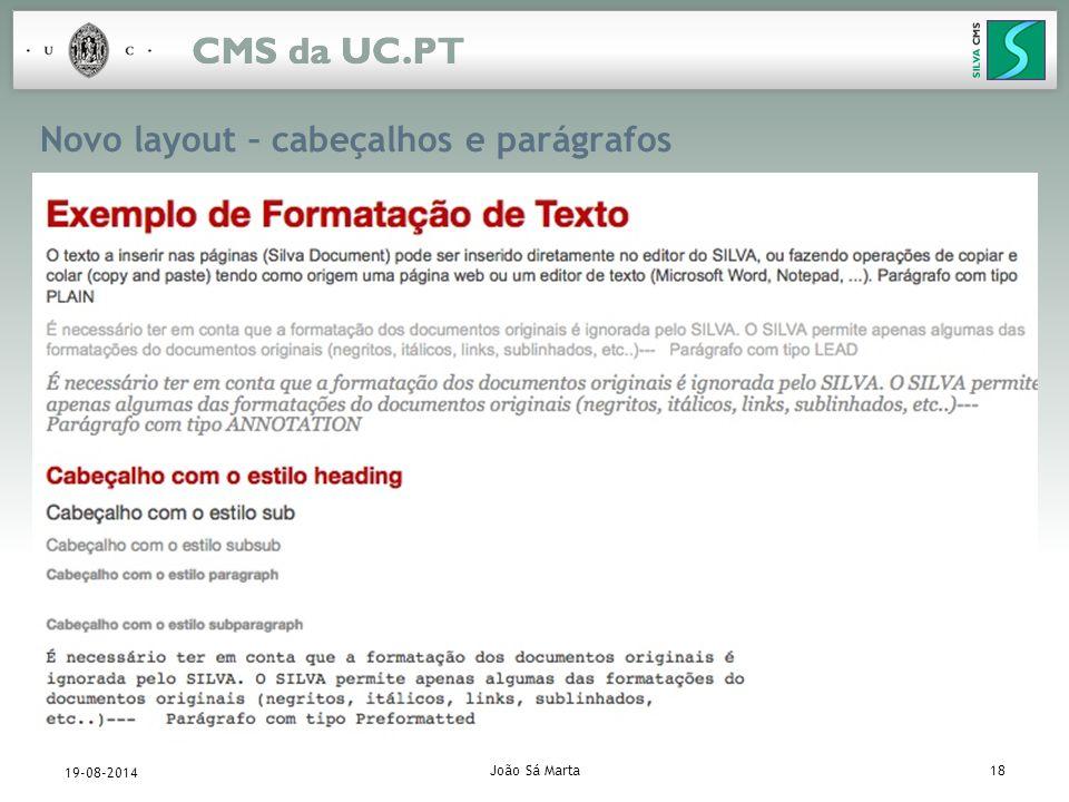 João Sá Marta18 19-08-2014 Novo layout – cabeçalhos e parágrafos