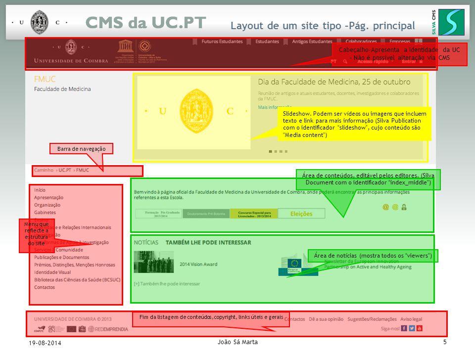 João Sá Marta16 19-08-2014 Adição de conteúdos (cont.) Silva Document Um Silva Document é a unidade básica de informação neste CMS.