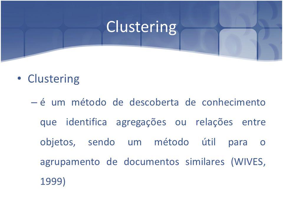 Clustering – é um método de descoberta de conhecimento que identifica agregações ou relações entre objetos, sendo um método útil para o agrupamento de
