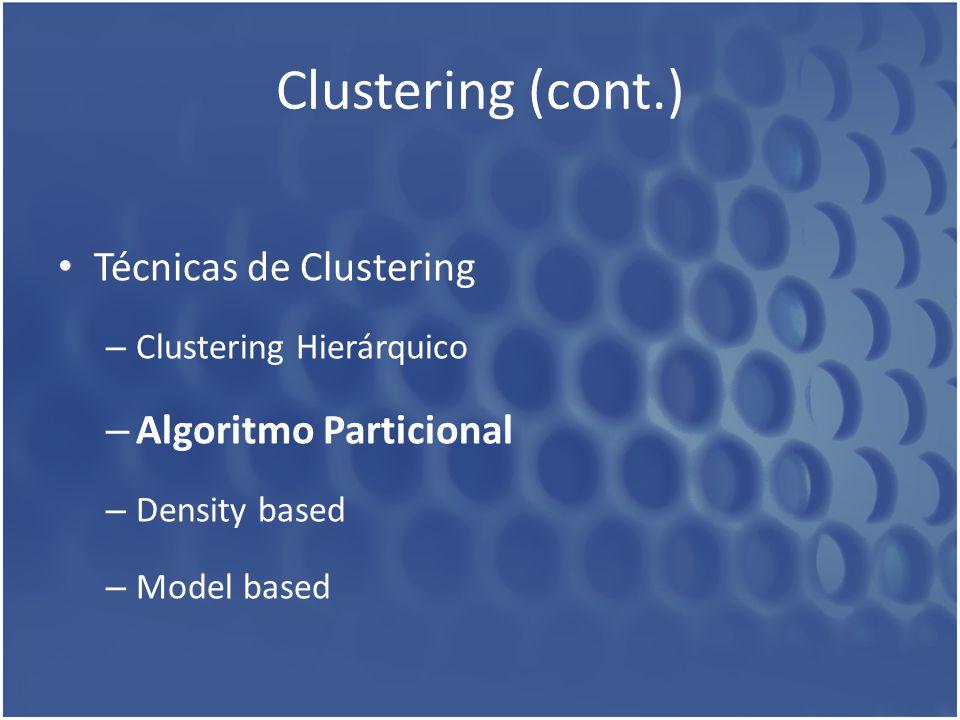 Clustering (cont.) Técnicas de Clustering – Clustering Hierárquico – Algoritmo Particional – Density based – Model based