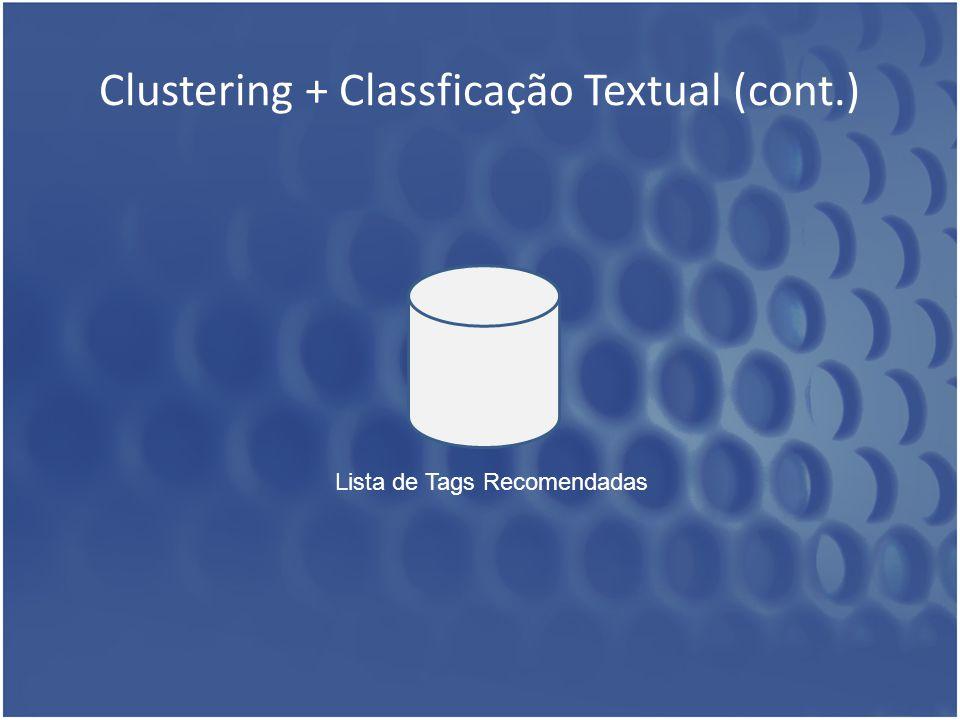 Clustering + Classficação Textual (cont.) Lista de Tags Recomendadas