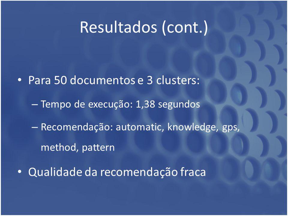 Resultados (cont.) Para 50 documentos e 3 clusters: – Tempo de execução: 1,38 segundos – Recomendação: automatic, knowledge, gps, method, pattern Qual