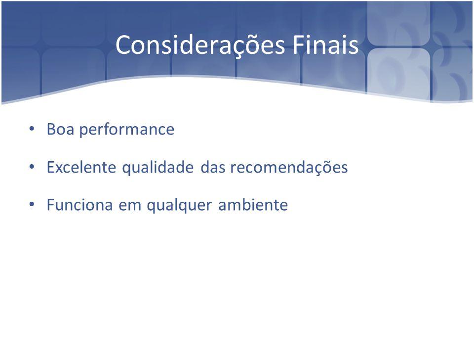 Boa performance Excelente qualidade das recomendações Funciona em qualquer ambiente