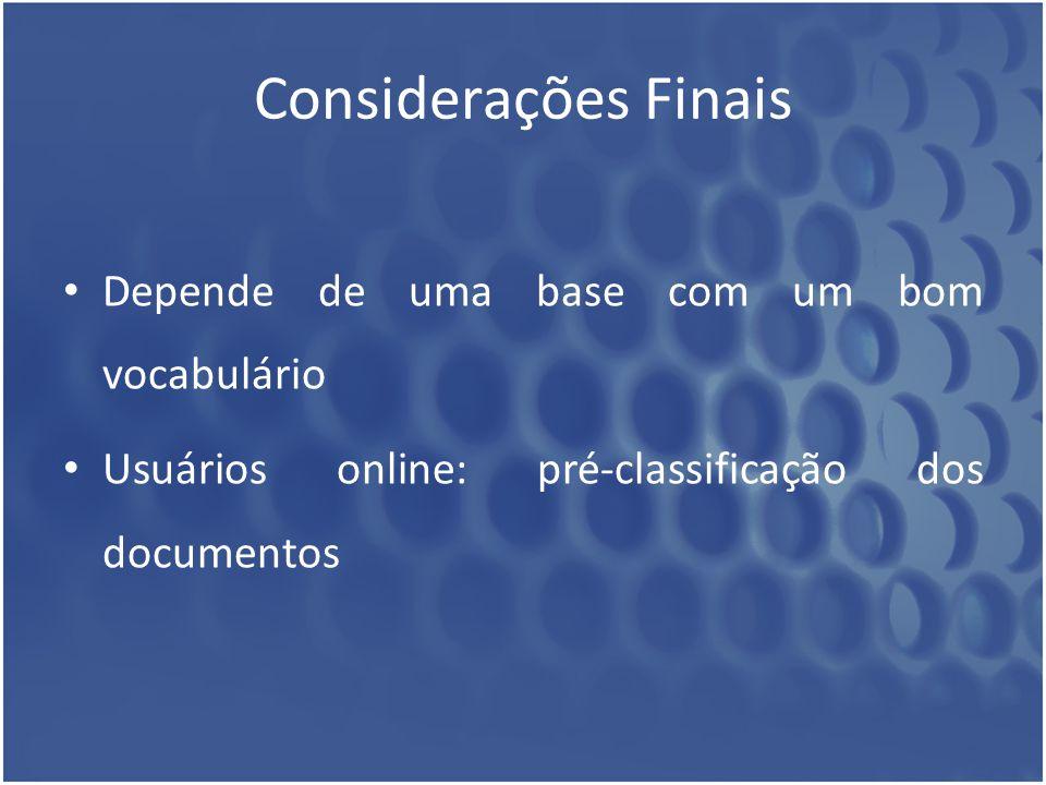 Considerações Finais Depende de uma base com um bom vocabulário Usuários online: pré-classificação dos documentos