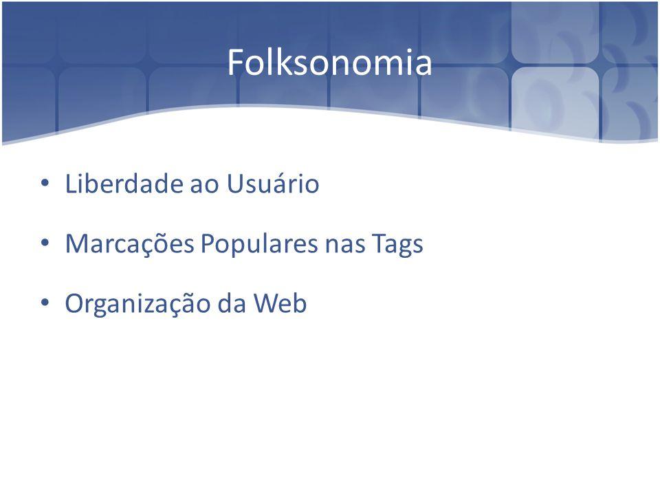 Folksonomia Liberdade ao Usuário Marcações Populares nas Tags Organização da Web