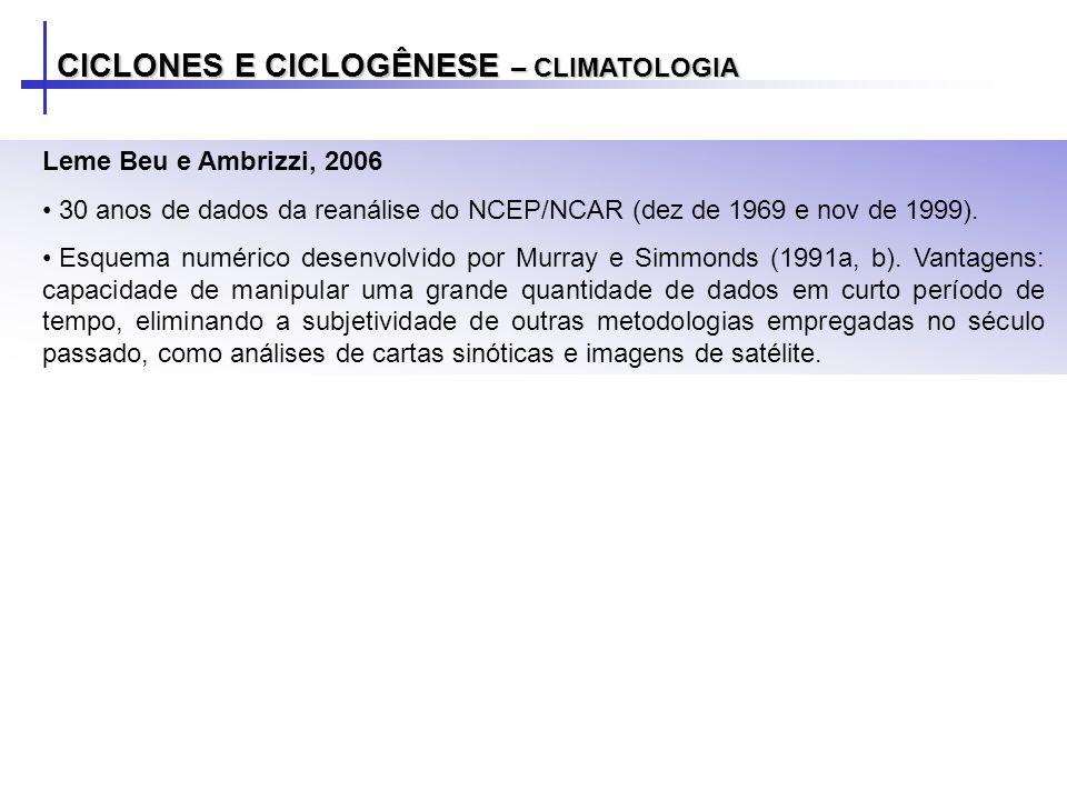 CICLONES E CICLOGÊNESE – CLIMATOLOGIA Leme Beu e Ambrizzi, 2006 30 anos de dados da reanálise do NCEP/NCAR (dez de 1969 e nov de 1999).