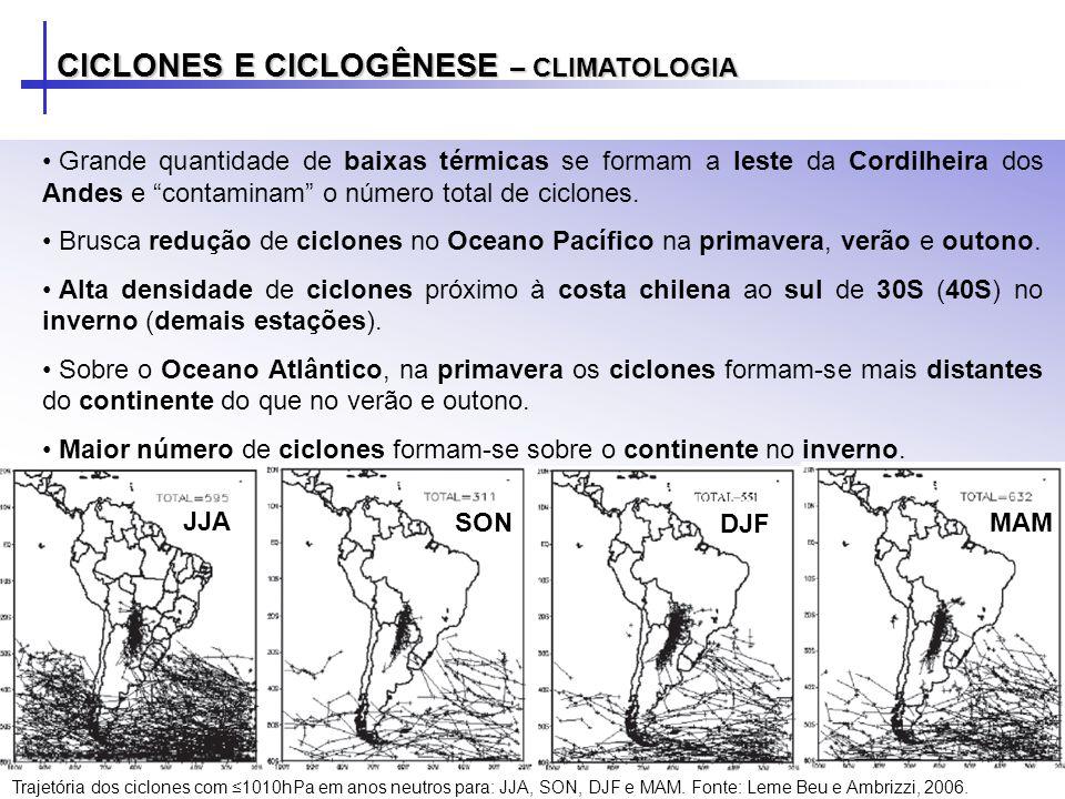 CICLONES E CICLOGÊNESE – CLIMATOLOGIA Grande quantidade de baixas térmicas se formam a leste da Cordilheira dos Andes e contaminam o número total de ciclones.
