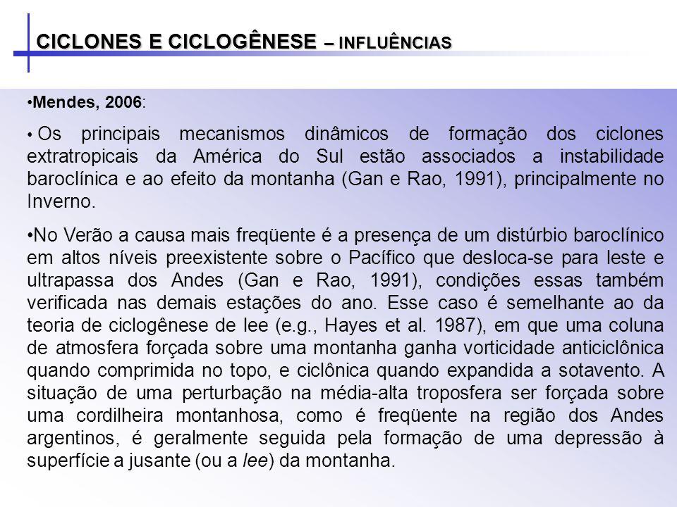 CICLONES E CICLOGÊNESE – INFLUÊNCIAS Mendes, 2006: Os principais mecanismos dinâmicos de formação dos ciclones extratropicais da América do Sul estão associados a instabilidade baroclínica e ao efeito da montanha (Gan e Rao, 1991), principalmente no Inverno.