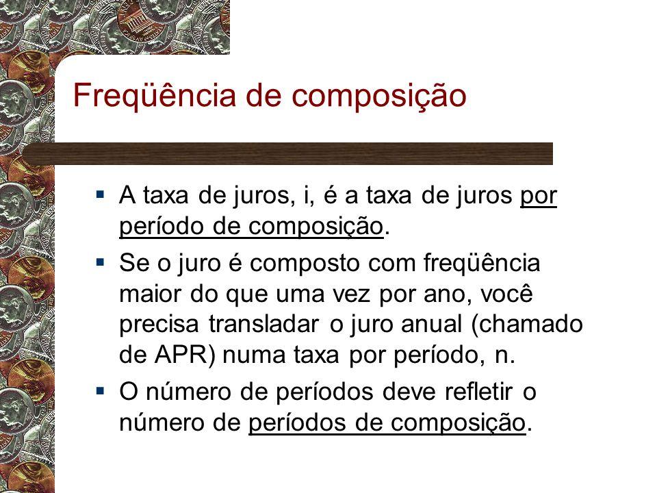 Freqüência de composição  A taxa de juros, i, é a taxa de juros por período de composição.
