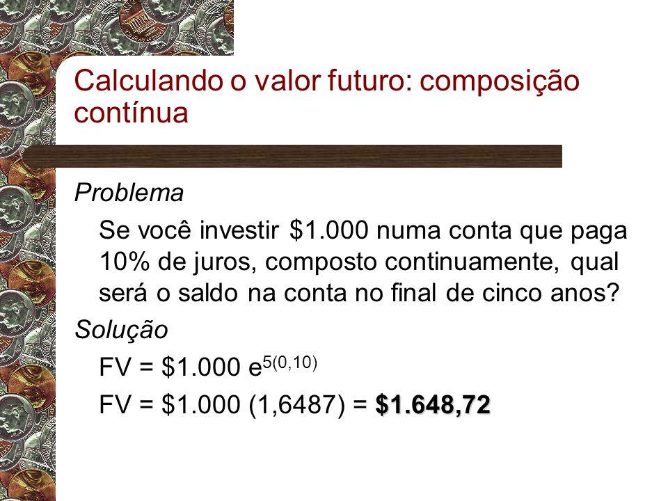 Calculando o valor futuro: composição contínua Problema Se você investir $1.000 numa conta que paga 10% de juros, composto continuamente, qual será o saldo na conta no final de cinco anos.