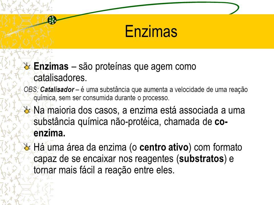Enzimas Enzimas – são proteínas que agem como catalisadores. OBS: Catalisador – é uma substância que aumenta a velocidade de uma reação química, sem s