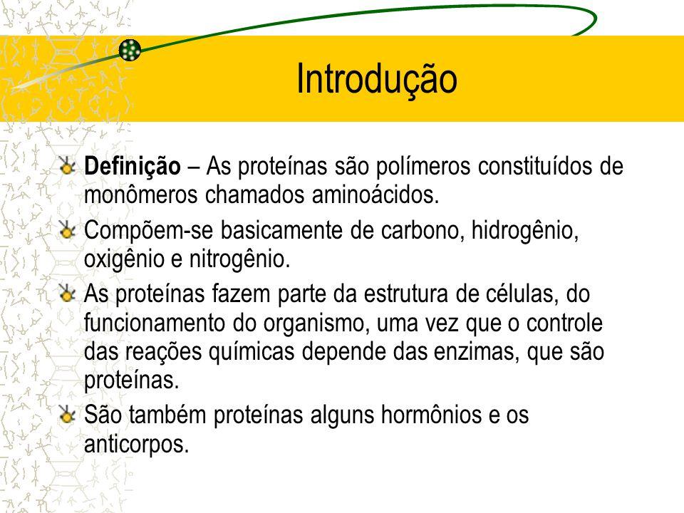 Introdução Definição – As proteínas são polímeros constituídos de monômeros chamados aminoácidos. Compõem-se basicamente de carbono, hidrogênio, oxigê