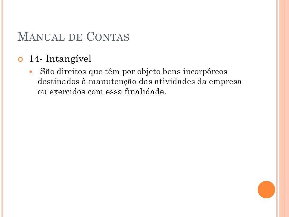 M ANUAL DE C ONTAS 14- Intangível São direitos que têm por objeto bens incorpóreos destinados à manutenção das atividades da empresa ou exercidos com