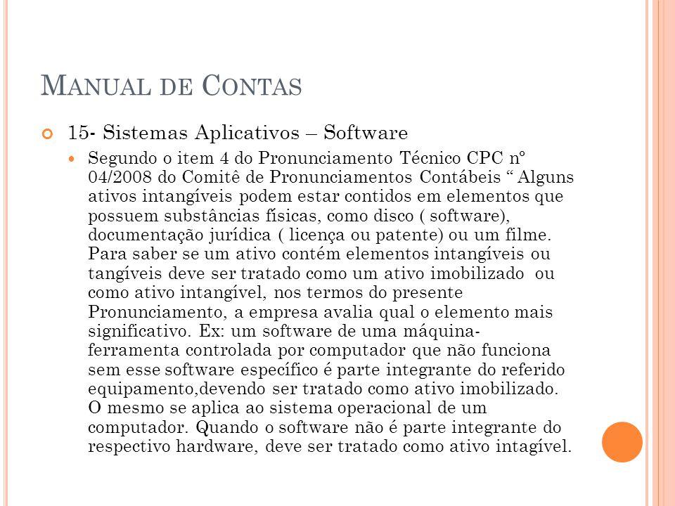 M ANUAL DE C ONTAS 15- Sistemas Aplicativos – Software Segundo o item 4 do Pronunciamento Técnico CPC nº 04/2008 do Comitê de Pronunciamentos Contábei