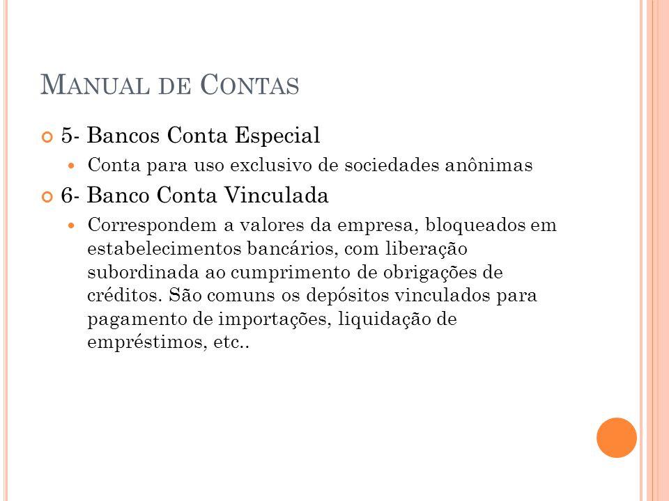 M ANUAL DE C ONTAS 5- Bancos Conta Especial Conta para uso exclusivo de sociedades anônimas 6- Banco Conta Vinculada Correspondem a valores da empresa