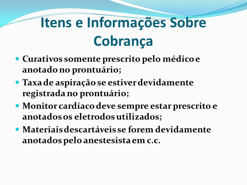 Itens e Informações Sobre Cobrança Curativos somente prescrito pelo médico e anotado no prontuário; Taxa de aspiração se estiver devidamente registrad