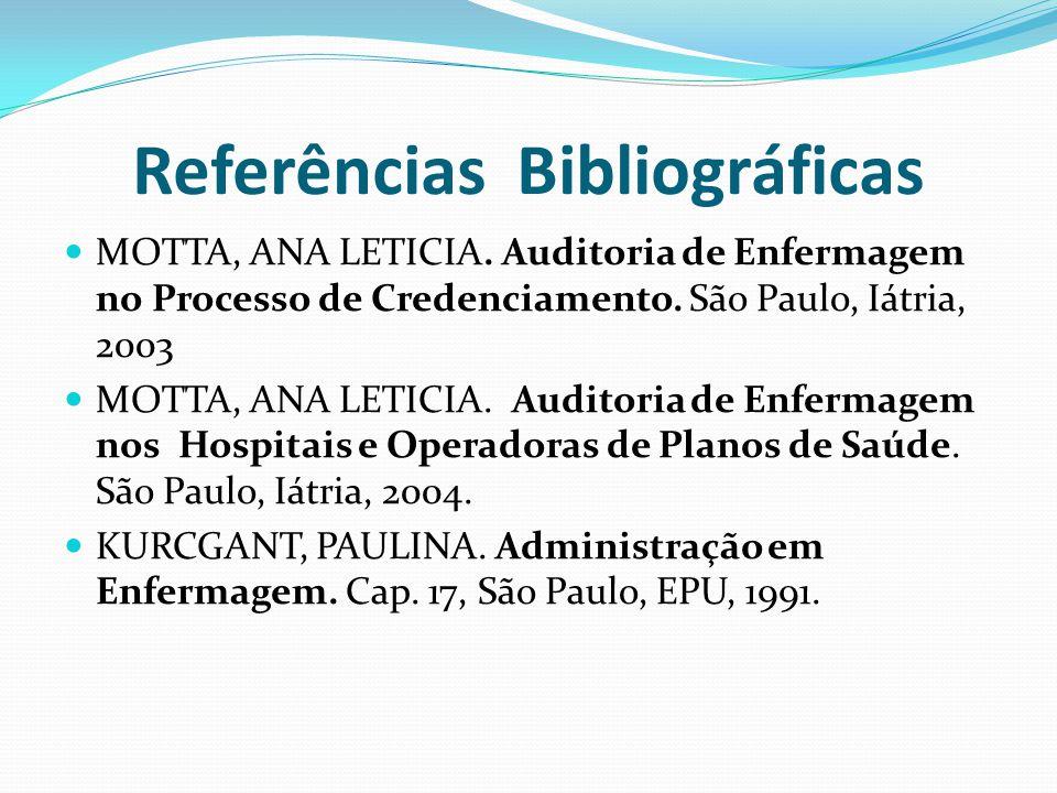 Referências Bibliográficas MOTTA, ANA LETICIA. Auditoria de Enfermagem no Processo de Credenciamento. São Paulo, Iátria, 2003 MOTTA, ANA LETICIA. Audi