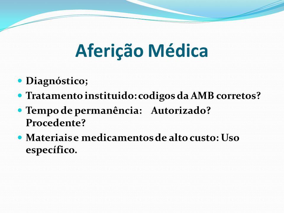 Aferição Médica Diagnóstico; Tratamento instituido: codigos da AMB corretos? Tempo de permanência: Autorizado? Procedente? Materiais e medicamentos de