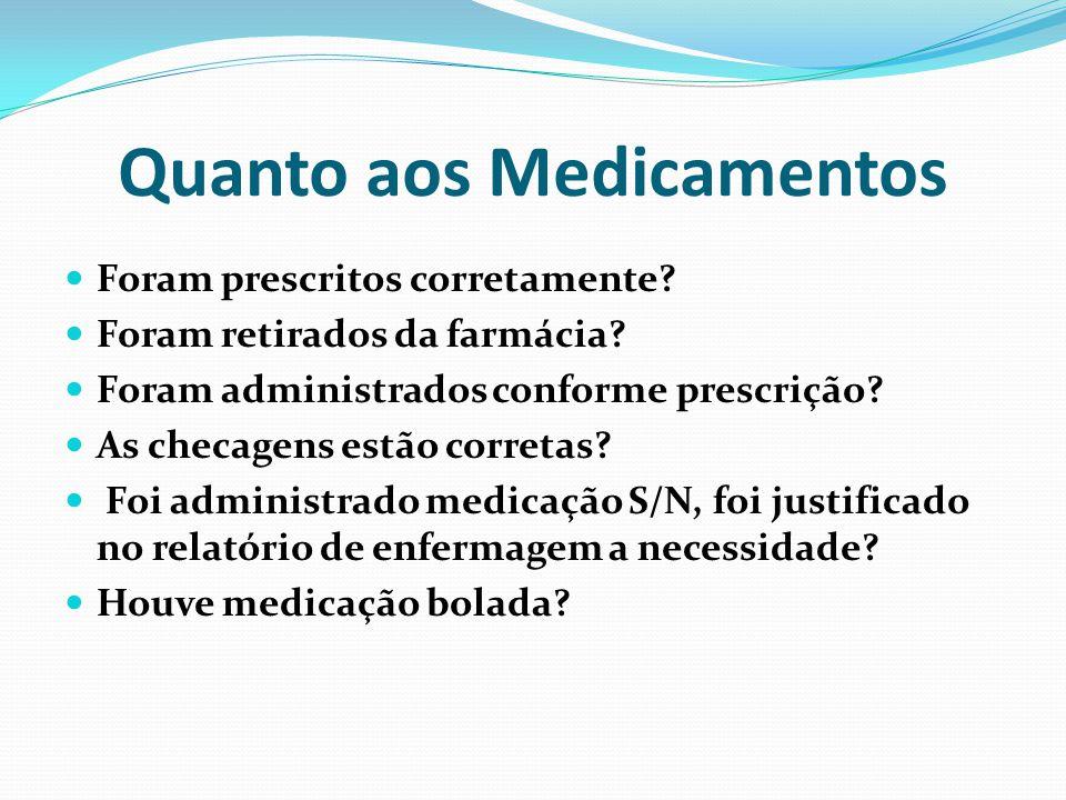 Quanto aos Medicamentos Foram prescritos corretamente? Foram retirados da farmácia? Foram administrados conforme prescrição? As checagens estão corret