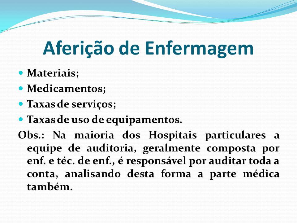 Aferição de Enfermagem Materiais; Medicamentos; Taxas de serviços; Taxas de uso de equipamentos. Obs.: Na maioria dos Hospitais particulares a equipe