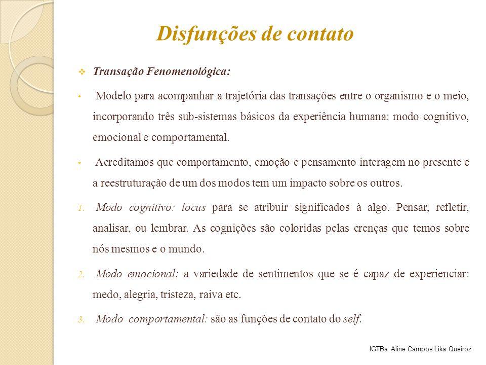  Transação Fenomenológica: Modelo para acompanhar a trajetória das transações entre o organismo e o meio, incorporando três sub-sistemas básicos da e
