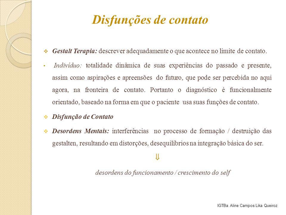 Gestalt Terapia: descrever adequadamente o que acontece no limite de contato. Indivíduo: totalidade dinâmica de suas experiências do passado e prese