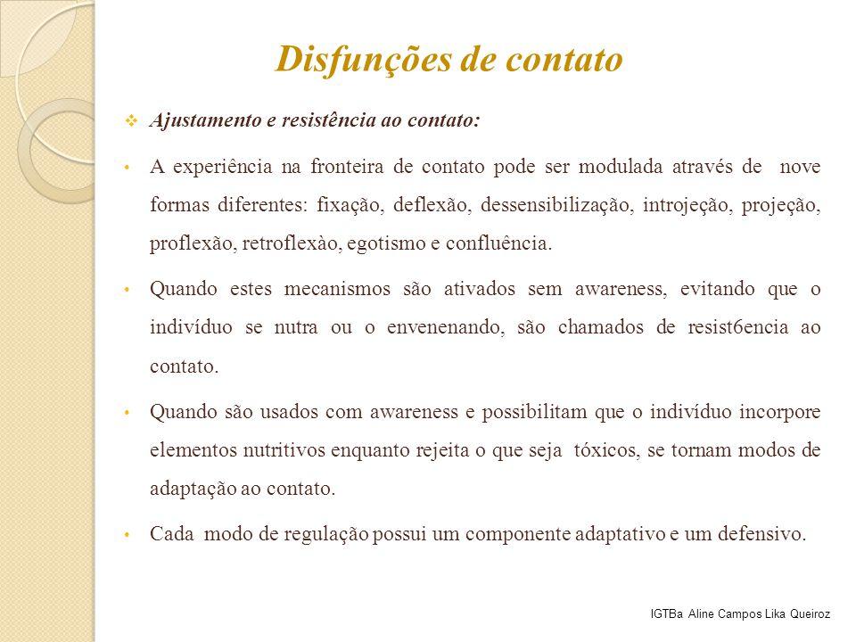  Ajustamento e resistência ao contato: A experiência na fronteira de contato pode ser modulada através de nove formas diferentes: fixação, deflexão,