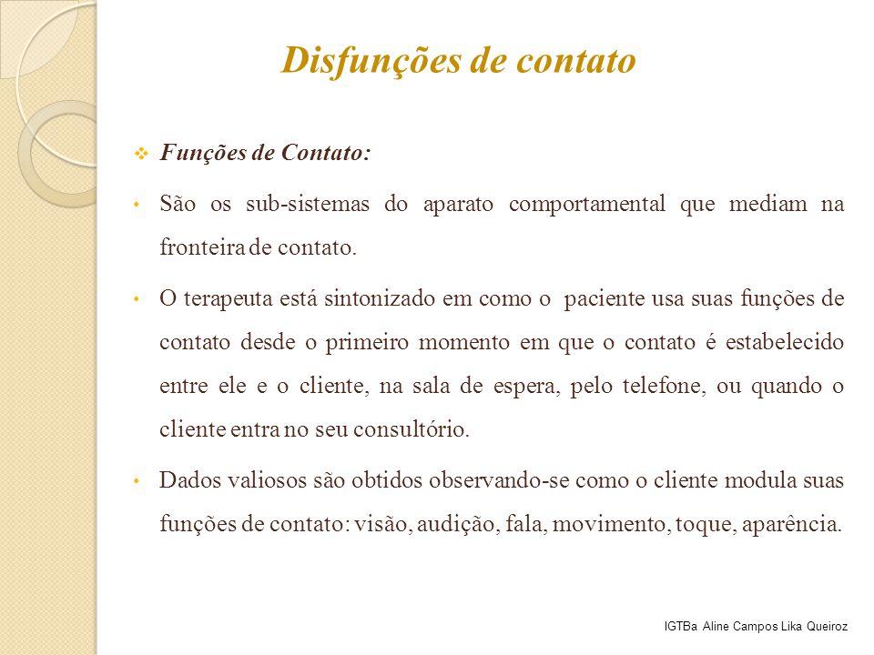  Funções de Contato: São os sub-sistemas do aparato comportamental que mediam na fronteira de contato. O terapeuta está sintonizado em como o pacient