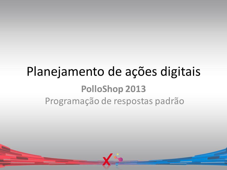 Planejamento de ações digitais PolloShop 2013 Programação de respostas padrão